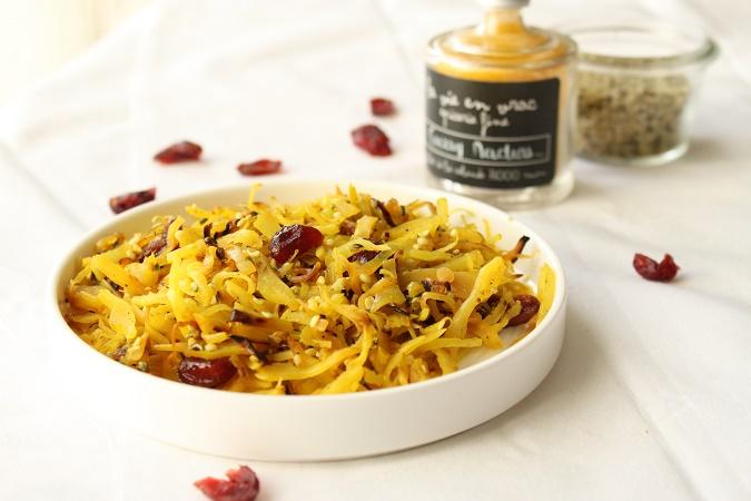 Poelee chou blanc curry cranberries