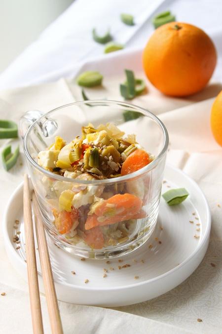 Poêlée poireaux carotte fêta orange