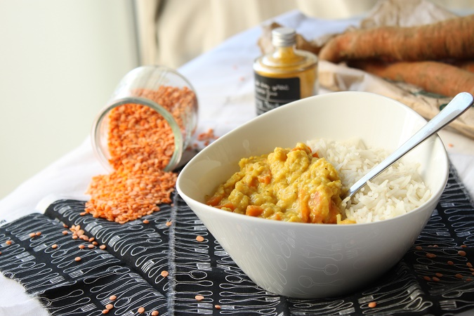 Curry carottes lentilles corail dhal