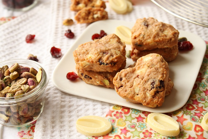 Cookies flocons d'avoine cranberries pistache chocolat blanc