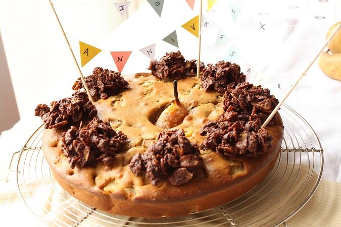 Gâteau poires et roses des sables spéculoos