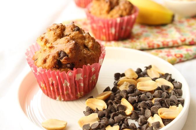 Muffin banane purée cacahuète chocolat sans beurre sans oeuf