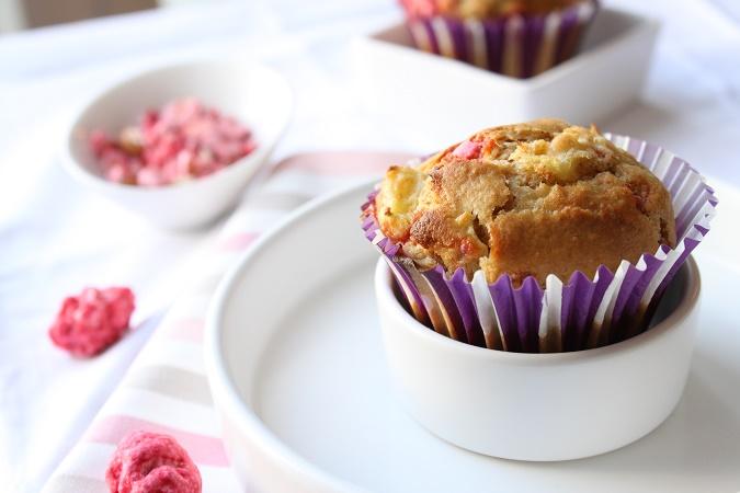 Muffin rhubarbe praline rose