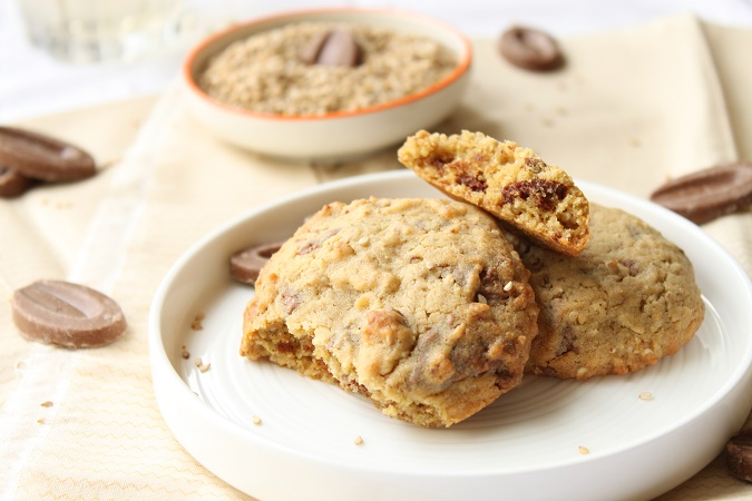 cookies graine de sesame chocolat caramelia